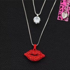 Betsey Johnson Lips Pendant Necklace